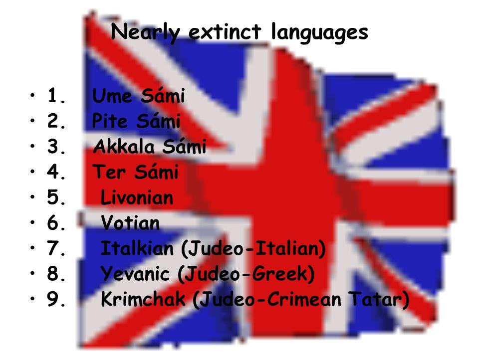 Nearly extinct languages 1. Ume Sámi 2. Pite Sámi 3.