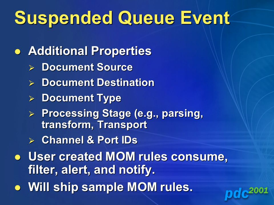 Suspended Queue Event Additional Properties Additional Properties  Document Source  Document Destination  Document Type  Processing Stage (e.g., parsing, transform, Transport  Channel & Port IDs User created MOM rules consume, filter, alert, and notify.