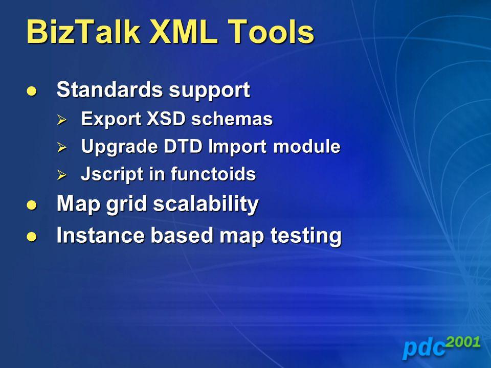 BizTalk XML Tools Standards support Standards support  Export XSD schemas  Upgrade DTD Import module  Jscript in functoids Map grid scalability Map grid scalability Instance based map testing Instance based map testing