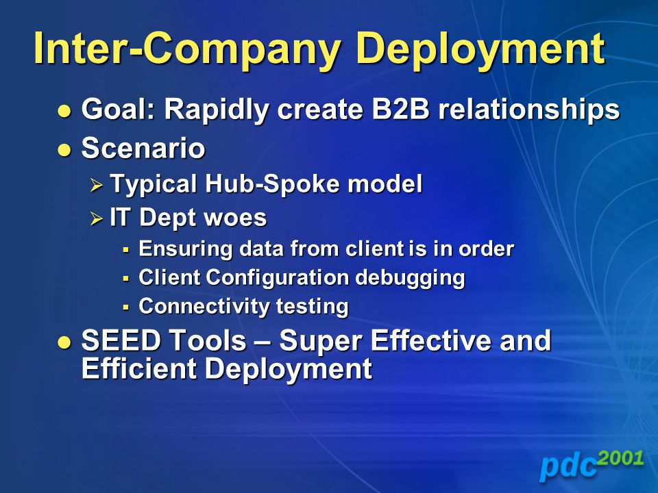 Inter-Company Deployment Goal: Rapidly create B2B relationships Goal: Rapidly create B2B relationships Scenario Scenario  Typical Hub-Spoke model  IT Dept woes  Ensuring data from client is in order  Client Configuration debugging  Connectivity testing SEED Tools – Super Effective and Efficient Deployment SEED Tools – Super Effective and Efficient Deployment