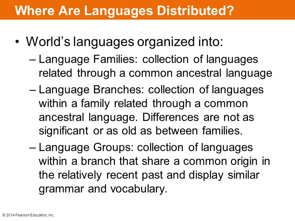 © 2014 Pearson Education, Inc.Where Are Languages Distributed.
