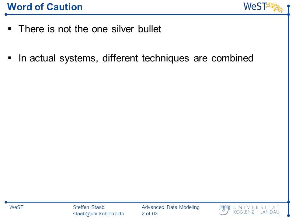 Steffen Staab staab@uni-koblenz.de Advanced Data Modeling 13 of 63 WeST Backward chaining algorithm