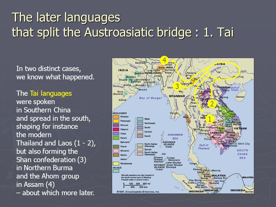 The later languages that split the Austroasiatic bridge : 1. Tai In two distinct cases, we know what happened. The Tai languages were spoken in Southe
