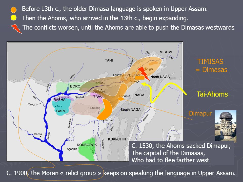 Tai-Ahoms TIMISAS = Dimasas Before 13th c., the older Dimasa language is spoken in Upper Assam.
