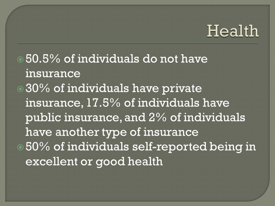  50.5% of individuals do not have insurance  30% of individuals have private insurance, 17.5% of individuals have public insurance, and 2% of individuals have another type of insurance  50% of individuals self-reported being in excellent or good health