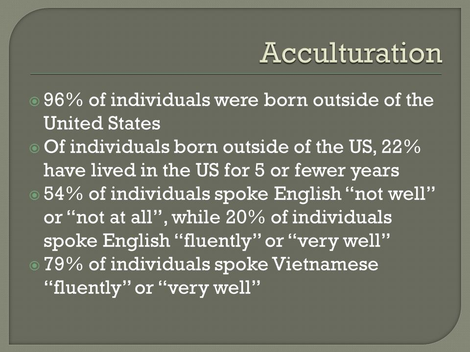  96% of individuals were born outside of the United States  Of individuals born outside of the US, 22% have lived in the US for 5 or fewer years  54% of individuals spoke English not well or not at all , while 20% of individuals spoke English fluently or very well  79% of individuals spoke Vietnamese fluently or very well
