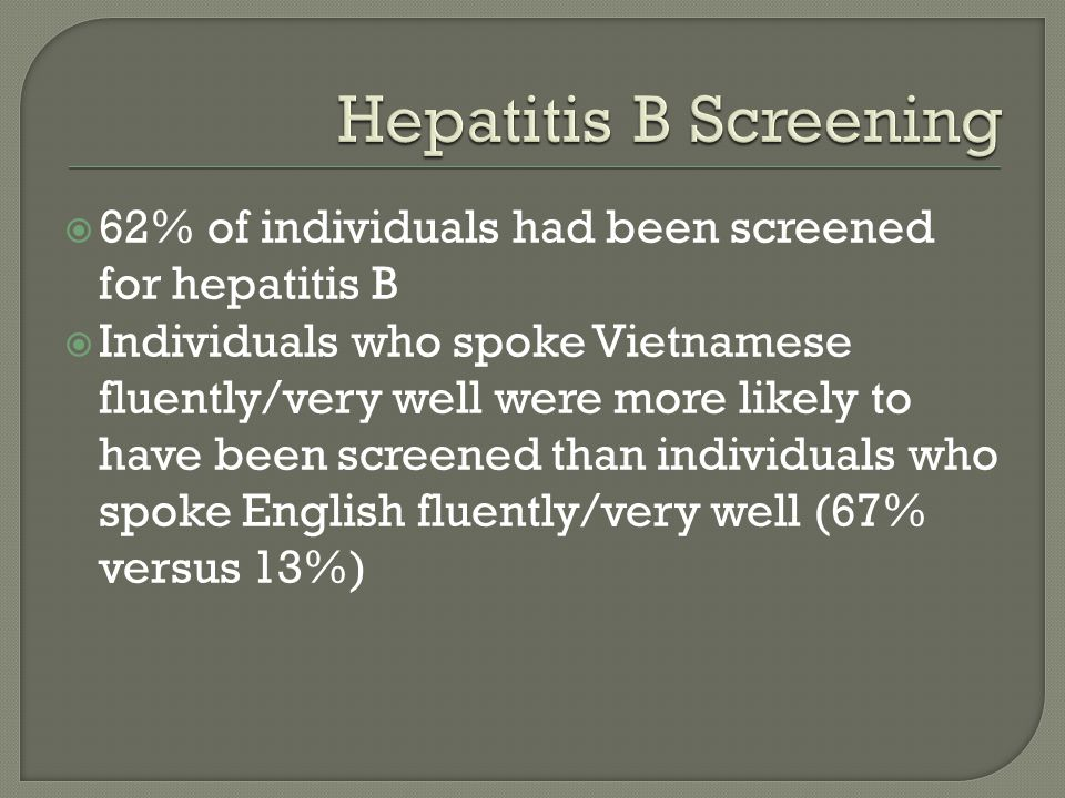  62% of individuals had been screened for hepatitis B  Individuals who spoke Vietnamese fluently/very well were more likely to have been screened than individuals who spoke English fluently/very well (67% versus 13%)