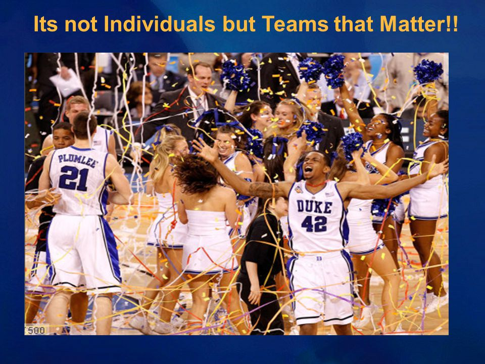 Its not Individuals but Teams that Matter!!