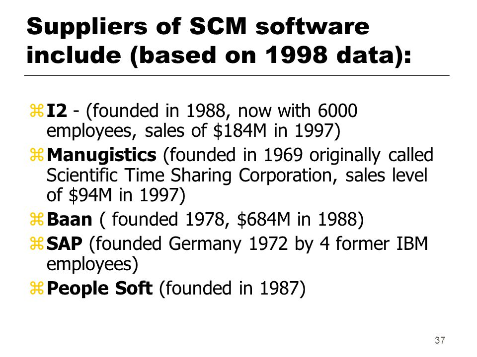 37 Suppliers of SCM software include (based on 1998 data): z I2 - (founded in 1988, now with 6000 employees, sales of $184M in 1997) z Manugistics (founded in 1969 originally called Scientific Time Sharing Corporation, sales level of $94M in 1997) z Baan ( founded 1978, $684M in 1988) z SAP (founded Germany 1972 by 4 former IBM employees) z People Soft (founded in 1987)