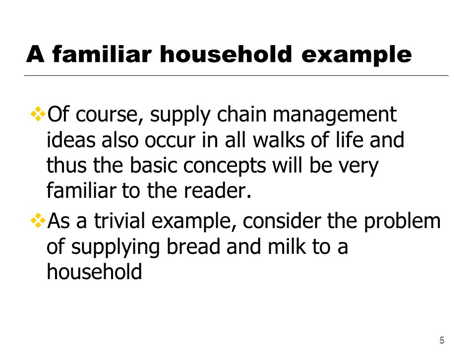 5 A familiar household example  Of course, supply chain management ideas also occur in all walks of life and thus the basic concepts will be very familiar to the reader.