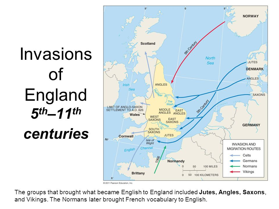 Invasions of England 5 th –11 th centuries The groups that brought what became English to England included Jutes, Angles, Saxons, and Vikings. The Nor