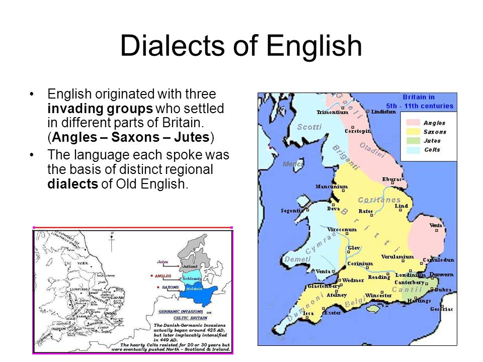 Dialects of English English originated with three invading groups who settled in different parts of Britain. (Angles – Saxons – Jutes) The language ea