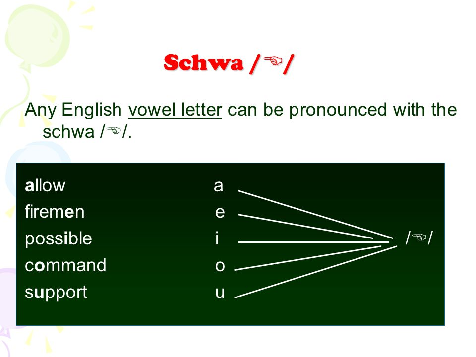 Any English vowel letter can be pronounced with the schwa /  /. allow a firemene possiblei/  / commando supportu Schwa /  /
