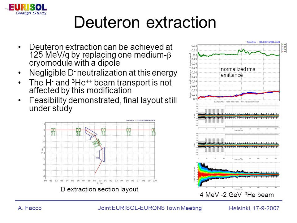A. FaccoJoint EURISOL-EURONS Town Meeting Helsinki, 17-9-2007 Deuteron extraction Deuteron extraction can be achieved at 125 MeV/q by replacing one me