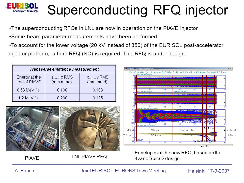 A. FaccoJoint EURISOL-EURONS Town Meeting Helsinki, 17-9-2007 Superconducting RFQ injector The superconducting RFQs in LNL are now in operation on the