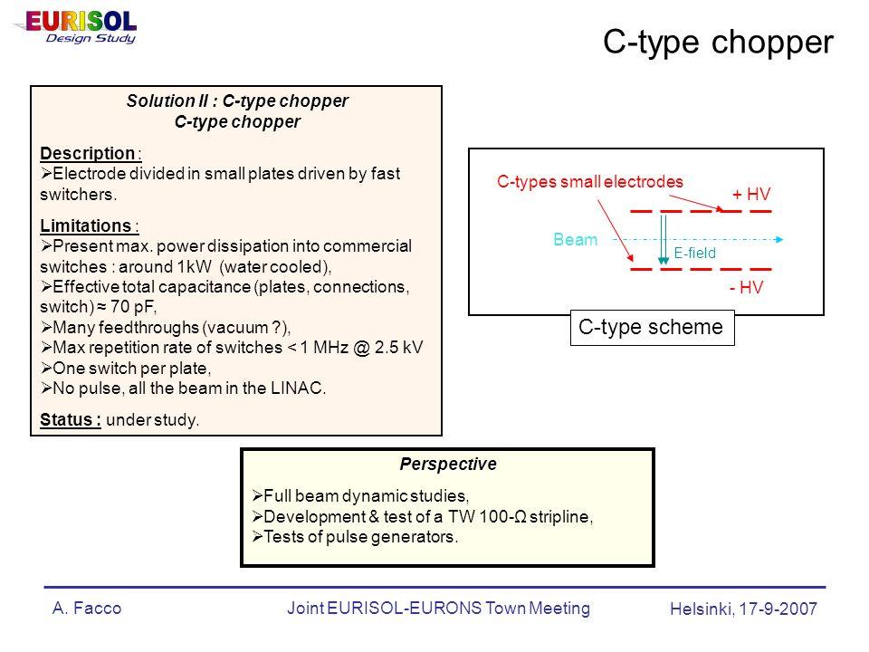 A. FaccoJoint EURISOL-EURONS Town Meeting Helsinki, 17-9-2007 E-field Beam C-types small electrodes + HV - HV C-type scheme Solution II : C-type chopp