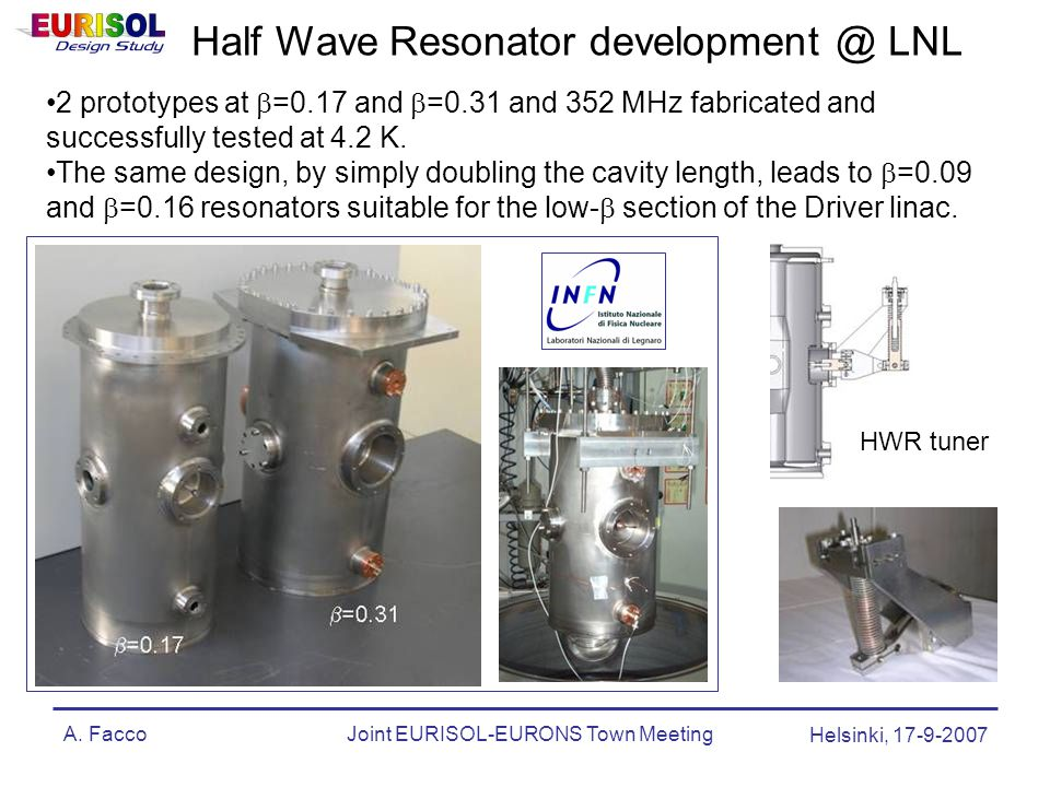 A. FaccoJoint EURISOL-EURONS Town Meeting Helsinki, 17-9-2007 Half Wave Resonator development @ LNL 2 prototypes at  =0.17 and  =0.31 and 352 MHz fa