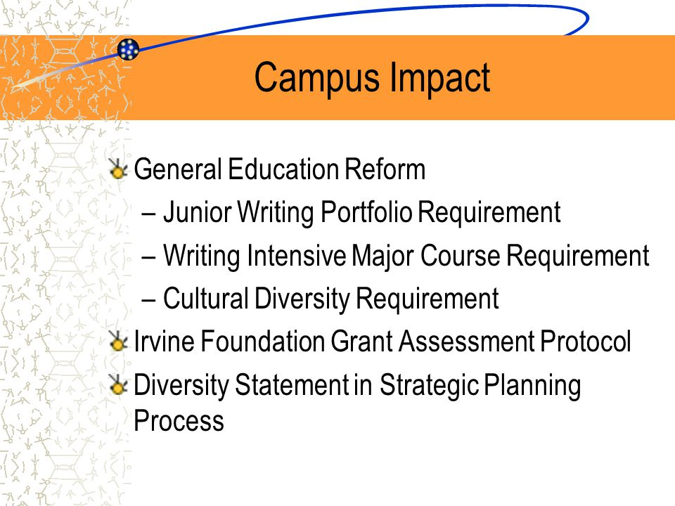 Campus Impact General Education Reform –Junior Writing Portfolio Requirement –Writing Intensive Major Course Requirement –Cultural Diversity Requirement Irvine Foundation Grant Assessment Protocol Diversity Statement in Strategic Planning Process
