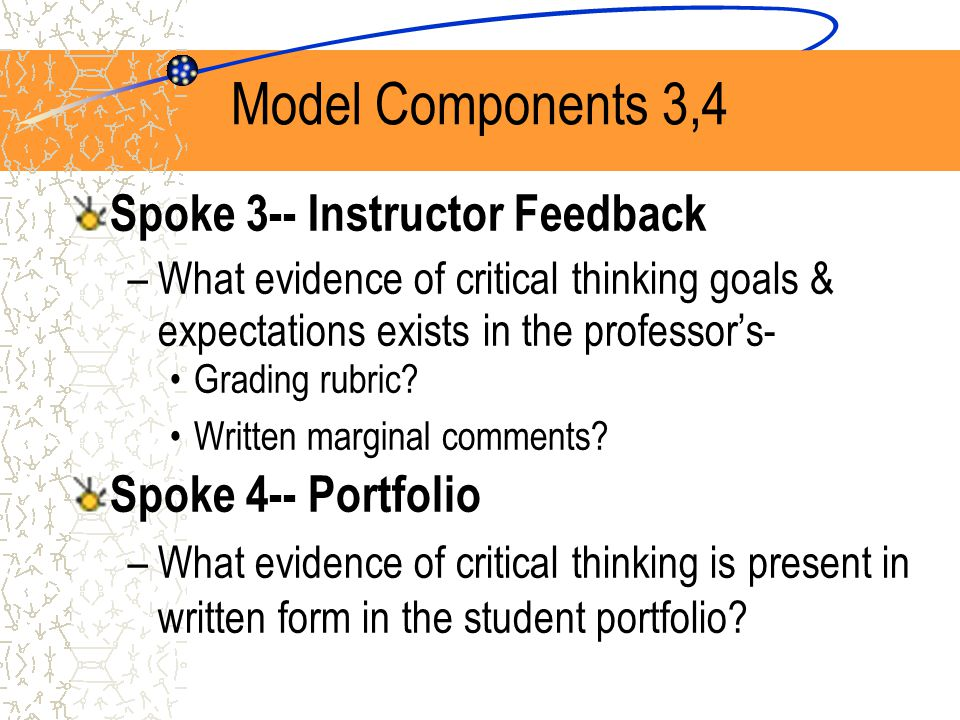 Model Components 5,6 Spoke 5--Student Feedback –Is there evidence that the student has been asked to do self-evaluation about acquired skills or about the way the professor evaluated the assignment.