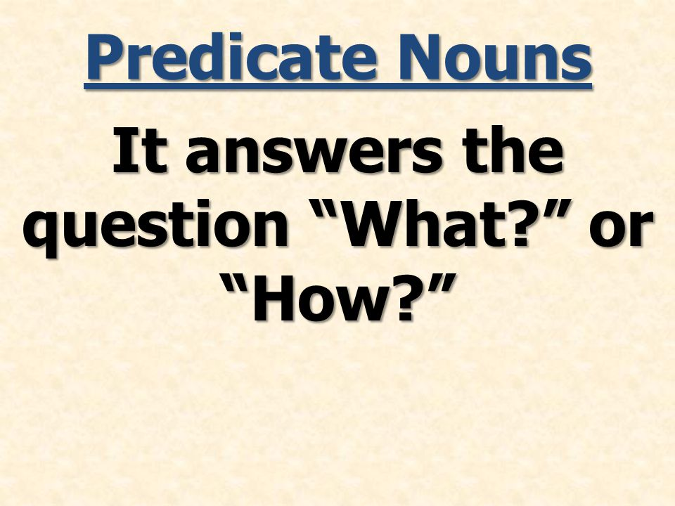 Predicate Nouns It answers the question What or How