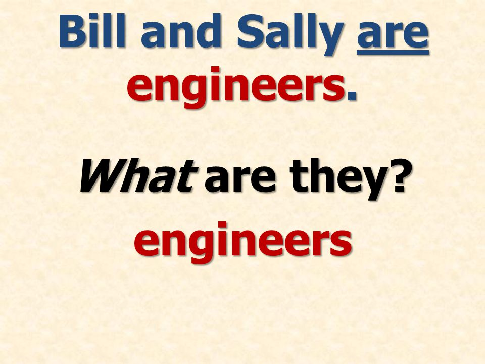 Bill and Sally are engineers. What are they engineers