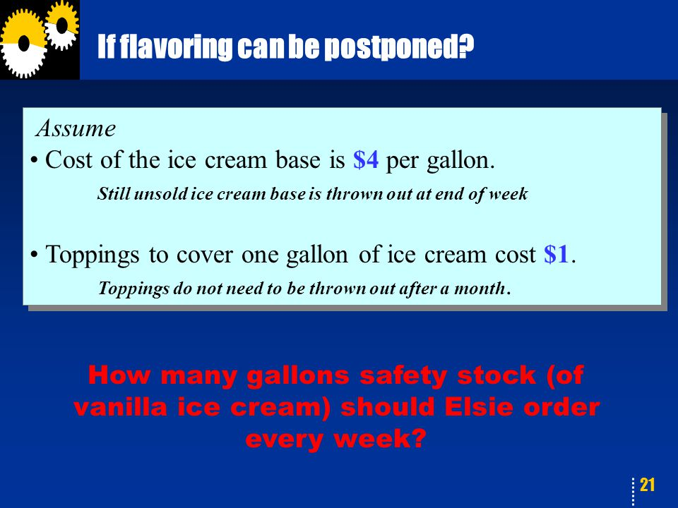 21 If flavoring can be postponed? Assume Cost of the ice cream base is $4 per gallon. Still unsold ice cream base is thrown out at end of week Topping