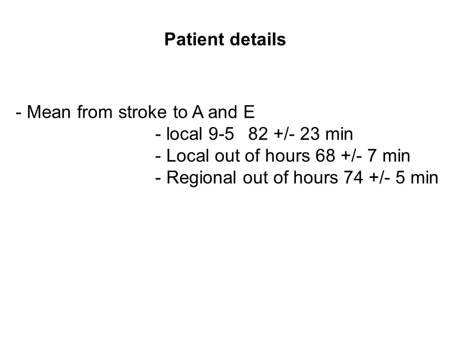 - Mean from stroke to A and E - local 9-582 +/- 23 min - Local out of hours 68 +/- 7 min - Regional out of hours 74 +/- 5 min Patient details