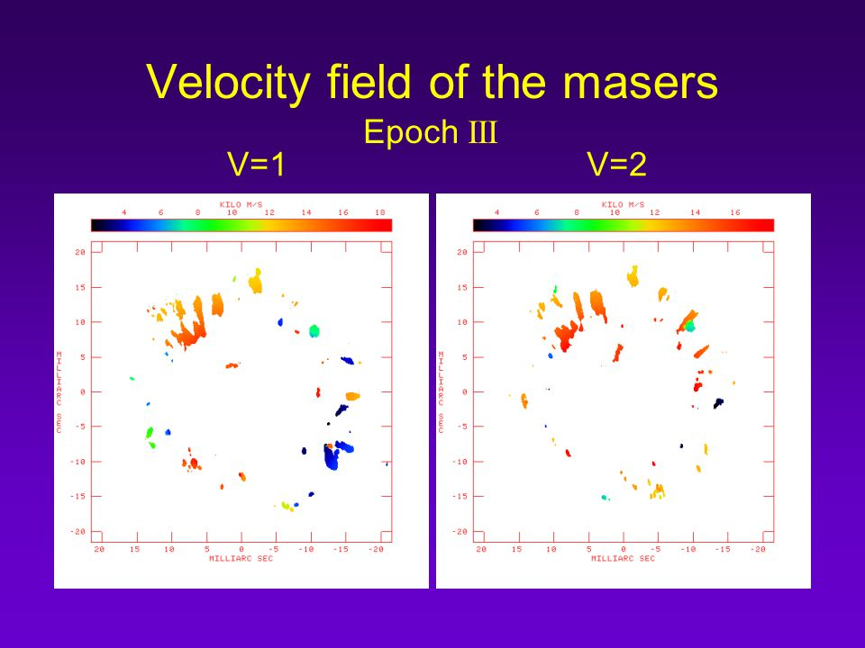 Velocity field of the masers V=1V=2 Epoch III