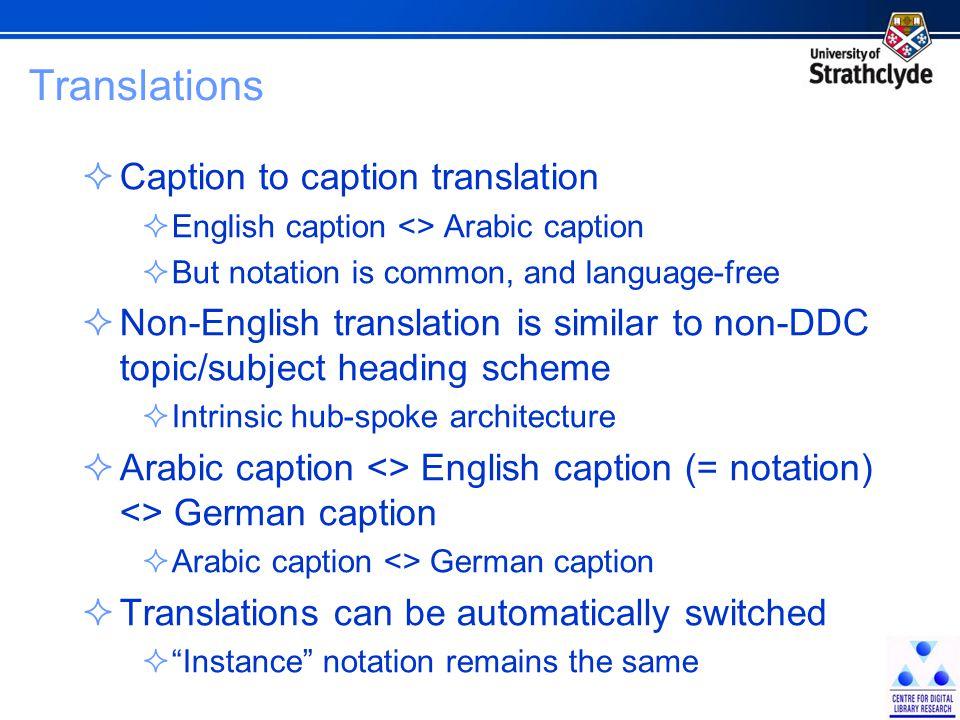 Translations  Caption to caption translation  English caption <> Arabic caption  But notation is common, and language-free  Non-English translatio