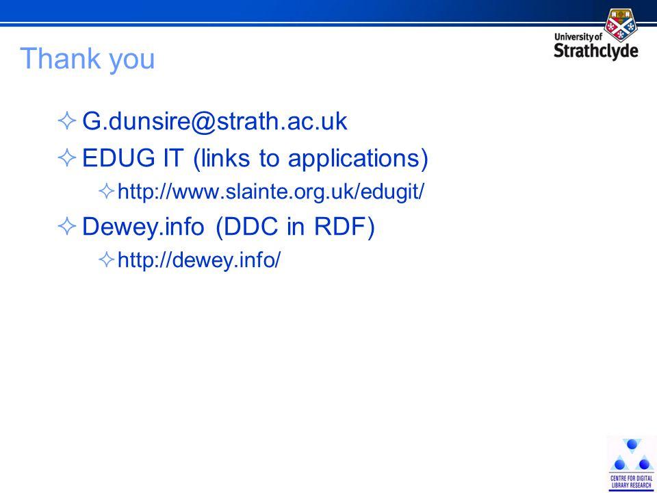Thank you  G.dunsire@strath.ac.uk  EDUG IT (links to applications)  http://www.slainte.org.uk/edugit/  Dewey.info (DDC in RDF)  http://dewey.info