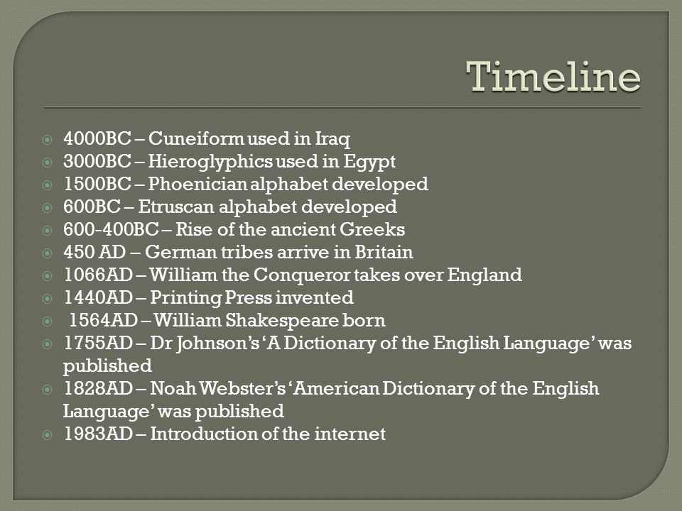  4000BC – Cuneiform used in Iraq  3000BC – Hieroglyphics used in Egypt  1500BC – Phoenician alphabet developed  600BC – Etruscan alphabet developed  600-400BC – Rise of the ancient Greeks  450 AD – German tribes arrive in Britain  1066AD – William the Conqueror takes over England  1440AD – Printing Press invented  1564AD – William Shakespeare born  1755AD – Dr Johnson's 'A Dictionary of the English Language' was published  1828AD – Noah Webster's 'American Dictionary of the English Language' was published  1983AD – Introduction of the internet