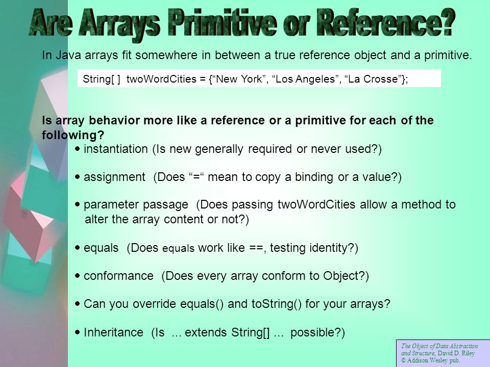 In Java arrays fit somewhere in between a true reference object and a primitive.