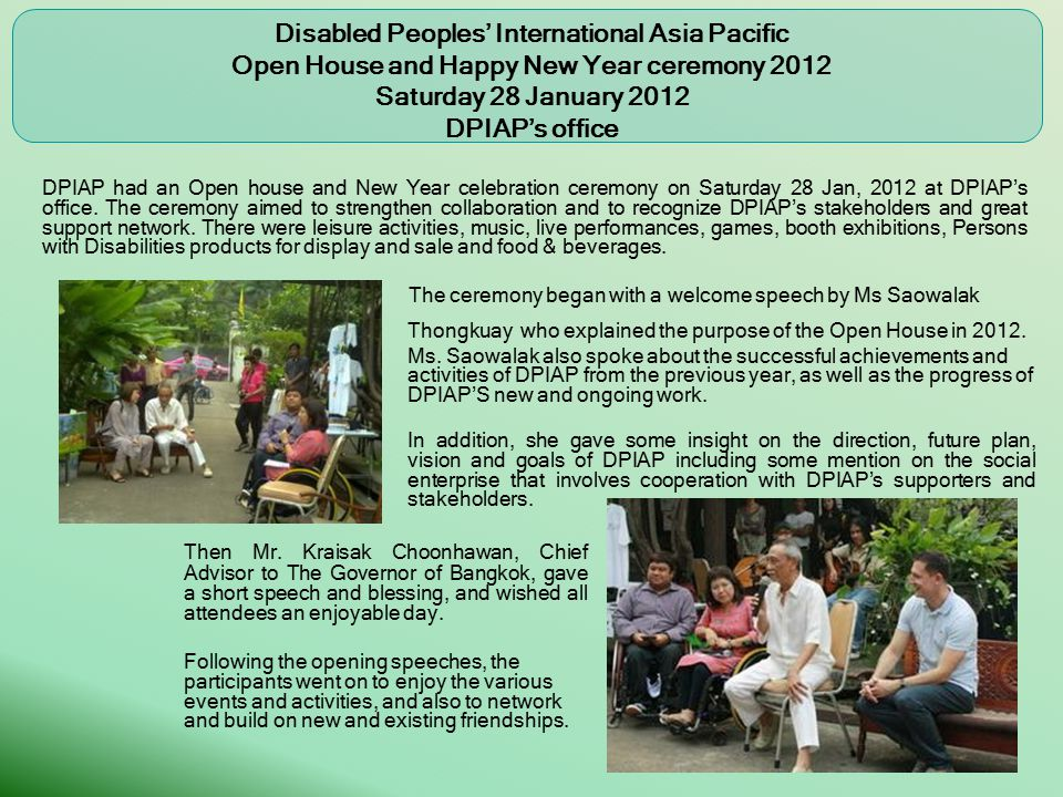 At11.30 am four Honorable invited speakers came to share their experiences in disability related work.