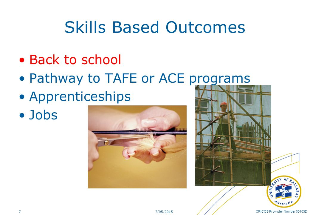 CRICOS Provider Number 00103D Skills Based Outcomes Back to school Pathway to TAFE or ACE programs Apprenticeships Jobs 7/05/20157