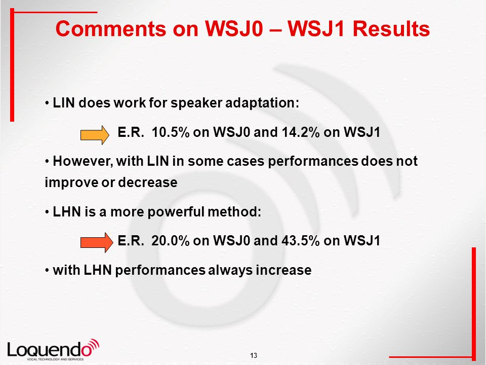 13 Comments on WSJ0 – WSJ1 Results LIN does work for speaker adaptation: E.R.
