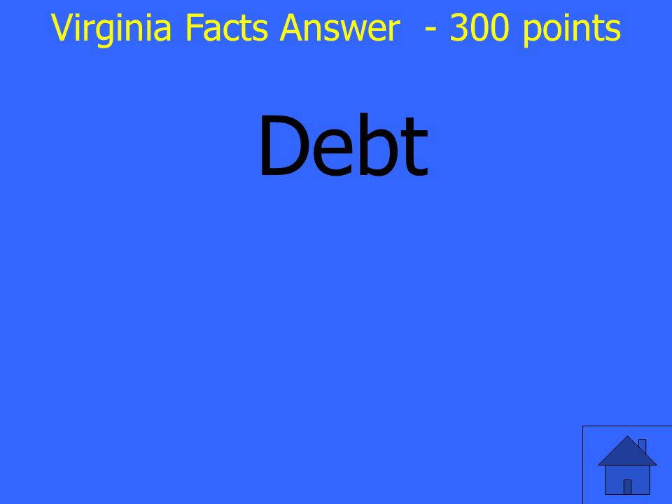 Debt Virginia Facts Answer - 300 points