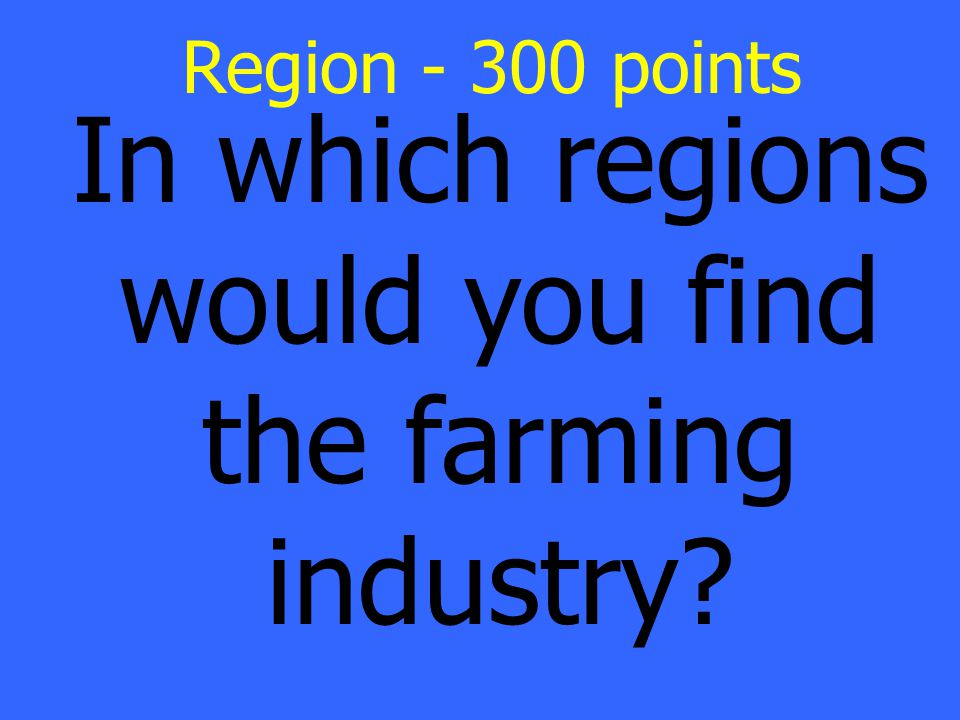 In which regions would you find the farming industry Region - 300 points