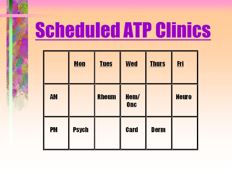 Scheduled ATP Clinics