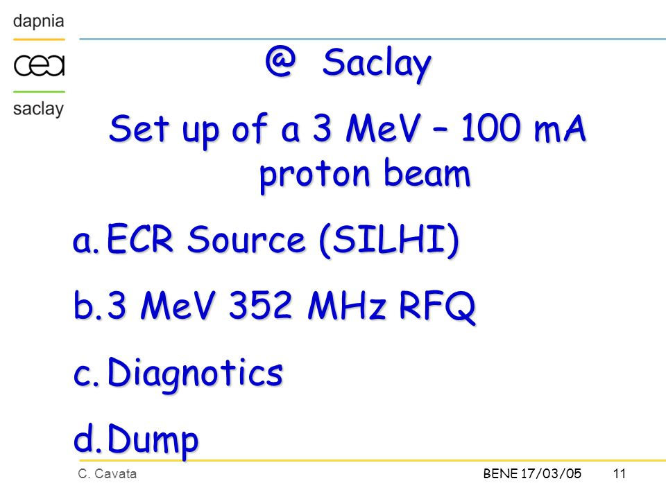 C. Cavata11 BENE 17/03/05 @ Saclay Set up of a 3 MeV – 100 mA proton beam a.ECR Source (SILHI) b.3 MeV 352 MHz RFQ c.Diagnotics d.Dump