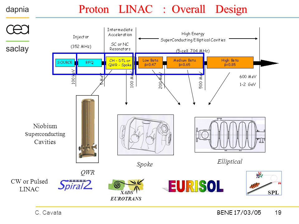 C. Cavata19 BENE 17/03/05 Proton LINAC : Overall Design SPL EUROTRANS CW or Pulsed LINAC Niobium Superconducting Cavities Spoke Elliptical QWR