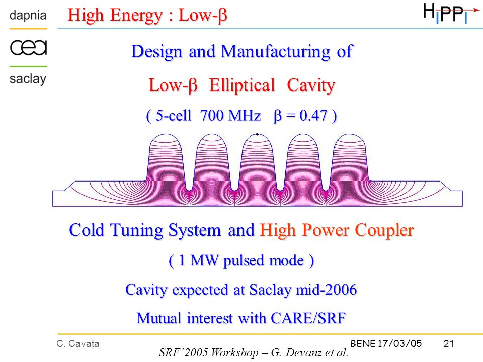 C. Cavata21 BENE 17/03/05 High Energy : Low-  Design and Manufacturing of Low-  Elliptical Cavity ( 5-cell 700 MHz  = 0.47 ) SRF'2005 Workshop – G.