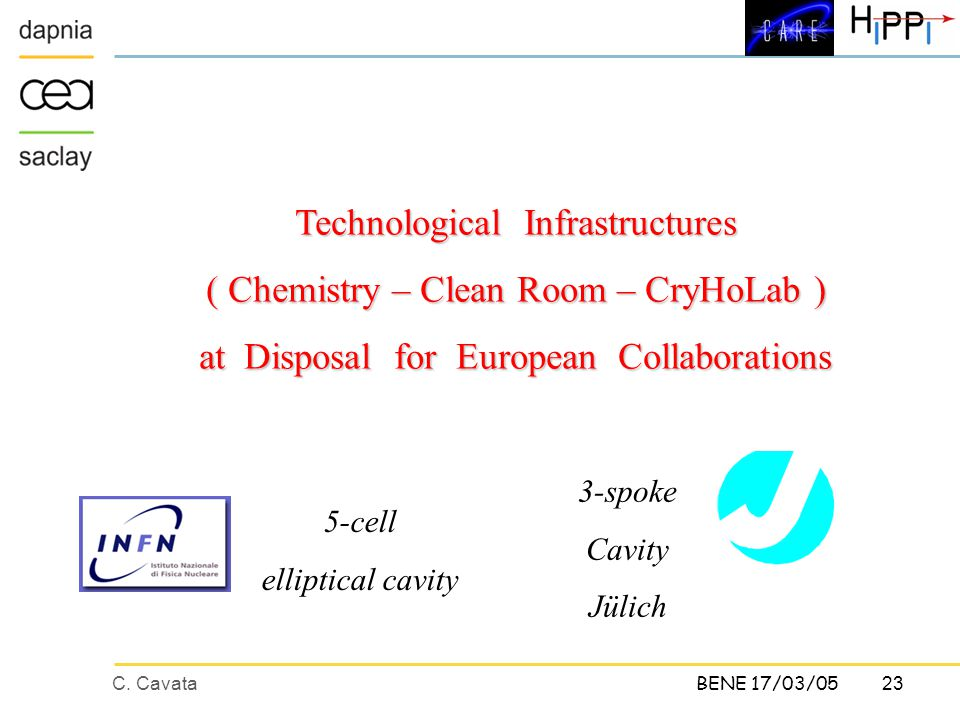 C. Cavata23 BENE 17/03/05 Technological Infrastructures ( Chemistry – Clean Room – CryHoLab ) at Disposal for European Collaborations 5-cell elliptica
