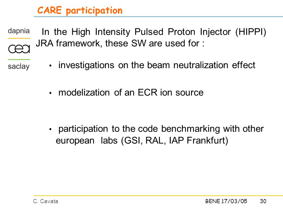30C. CavataBENE 17/03/05 CARE participation In the High Intensity Pulsed Proton Injector (HIPPI) JRA framework, these SW are used for : investigations