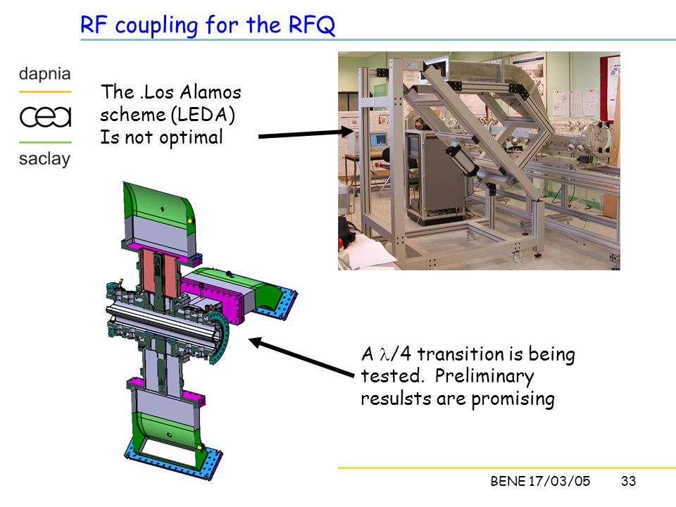 33C. CavataBENE 17/03/05 RF coupling for the RFQ The.Los Alamos scheme (LEDA) Is not optimal A /4 transition is being tested. Preliminary resulsts are