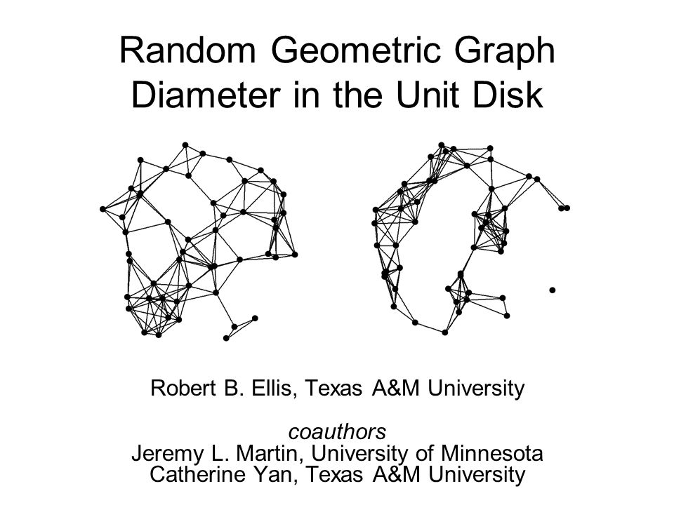 Random Geometric Graph Diameter in the Unit Disk Robert B. Ellis, Texas A&M University coauthors Jeremy L. Martin, University of Minnesota Catherine Y