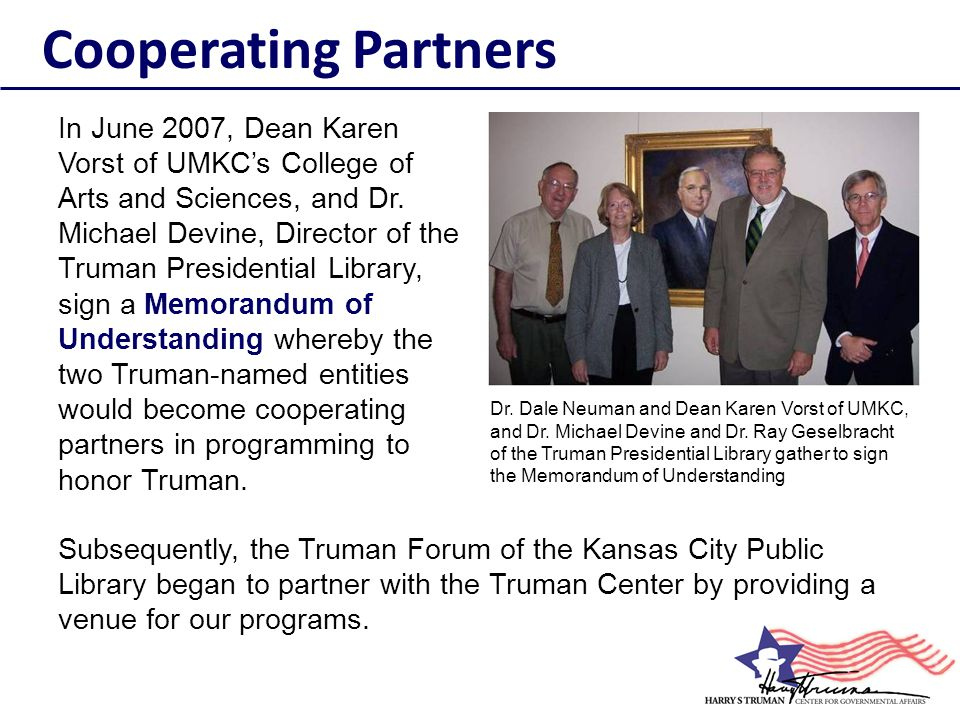 In November, 2010, the Truman Center and the Kansas City League of Women Voters, in collaboration with a delegation from Azerbaijan, presented a discussion Learning Democracy: Election Processes in the U.S.