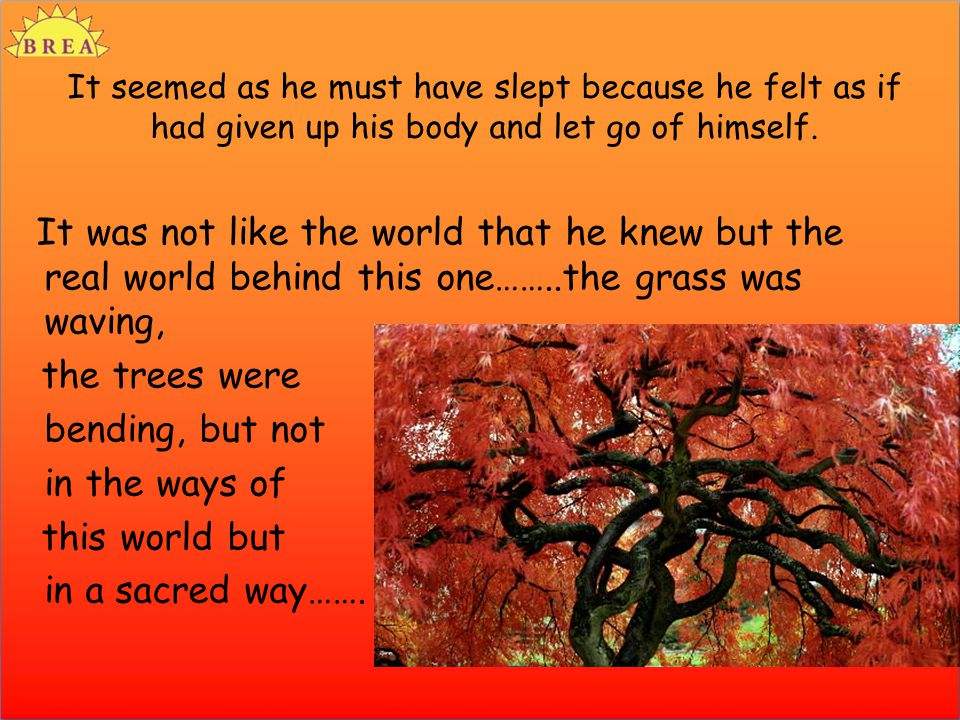 It seemed as he must have slept because he felt as if had given up his body and let go of himself.