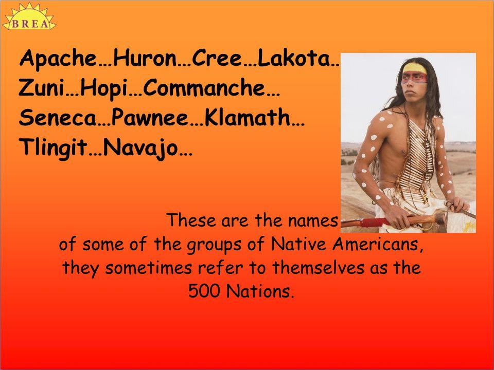 Apache…Huron…Cree…Lakota… Zuni…Hopi…Commanche… Seneca…Pawnee…Klamath… Tlingit…Navajo… These are the names of some of the groups of Native Americans, t