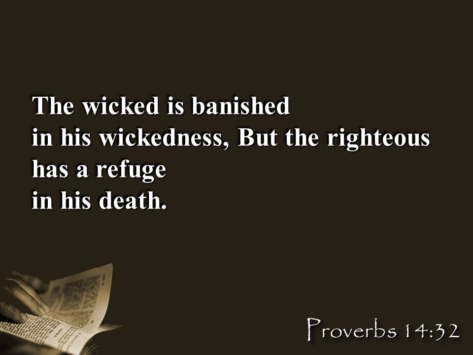 The wicked is banished in his wickedness, But the righteous has a refuge in his death.