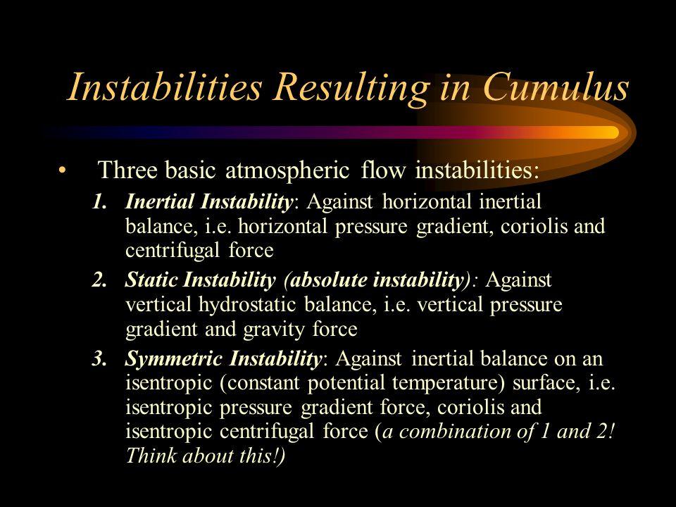 Instabilities Resulting in Cumulus Three basic atmospheric flow instabilities: 1.Inertial Instability: Against horizontal inertial balance, i.e.